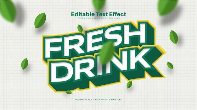 Текстовый эффект свежего напитка