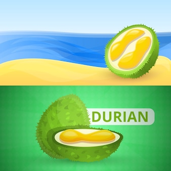 Fresh durian illustration set, cartoon style