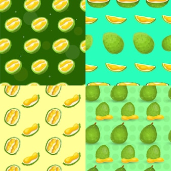 Fresh durian seamless pattern set, cartoon style