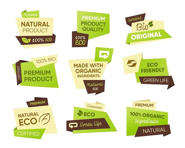 신선한 에코 식품 태그를 설정합니다. 천연, 바이오, 유기농 제품 텍스트 샘플이있는 스티커. 건강 식품 엠블럼, 농장 시장, 완전 채식 또는 채식을위한 배지 템플릿