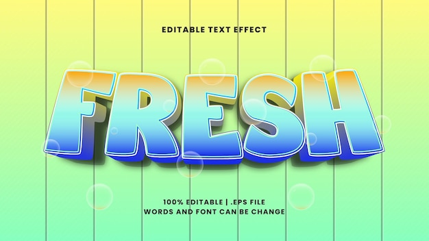 Fresh editable text effect in modern 3d style