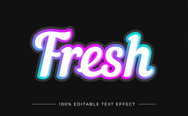 Fresh editable text effect with gradient color