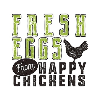 신선한 계란 포스터 디자인입니다. 타이포그래피 녹색과 검은색 배너 템플릿입니다. 티셔츠와 가방, 문구류, 나무 간판 및 기타 브랜딩 아이덴티티의 인쇄에 적합합니다. 벡터.