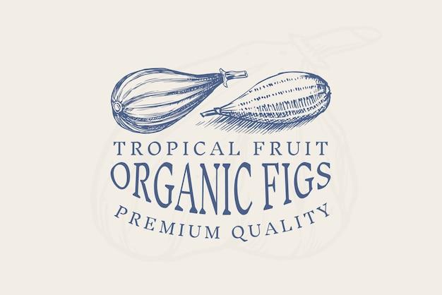 Значок свежий инжир. этикетка или логотип фруктовой листвы. нарезать кусочки. детокс-специя.
