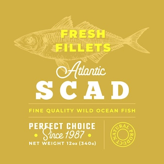 Fresh fillets premium quality label abstract vector fish packaging design layout retro typography wi...