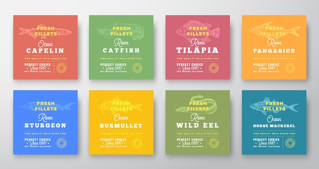 Fresh fillets premium quality labels collection abstract vector seafood packaging design layouts set...