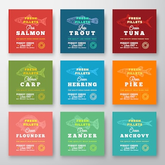 Fresh fillets premium quality labels set. abstract fish packaging design layout. retro typography with borders and hand drawn fish silhouette background.
