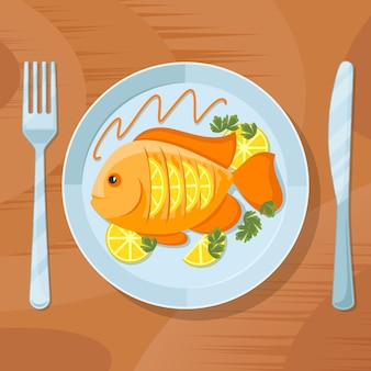 Fresh fish healthy dinner. fish delicious dish illustration. tasty fish on plate with fork and knife