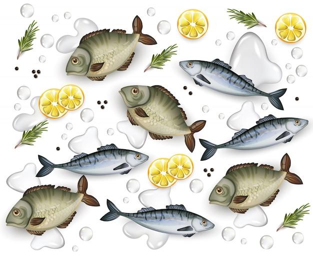 Fresh fish pattern illustration