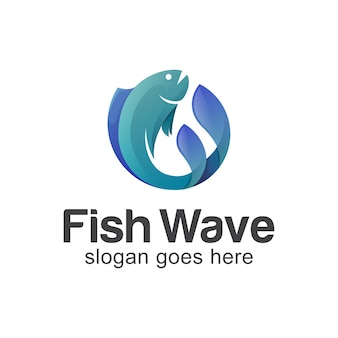 Fresh fish wave in ocean or seal logo design for seafood, fisherman, fish shop logo