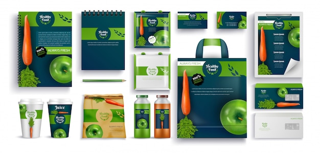 Fresh food, eco products, gift notebooks, cups set
