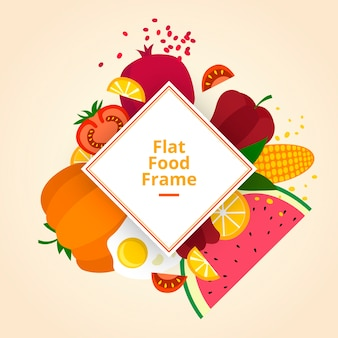평면 디자인의 신선한 음식 프레임