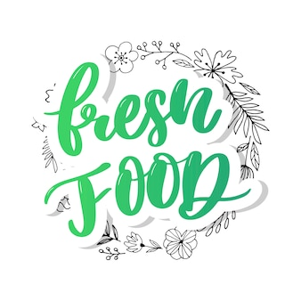 Fresh food lettering calligraphy rubber stamp green