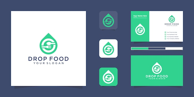 Fresh food logo, water drop with spoon and fork logo