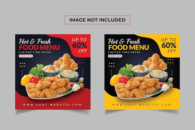 신선한 음식 메뉴 소셜 미디어 배너 서식 파일