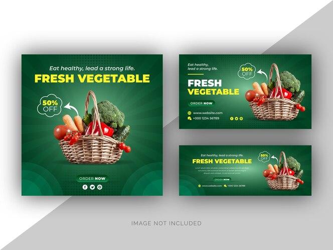 banner web di social media di verdure menu di cibo fresco e modello di copertina di facebook