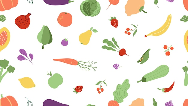 Бесшовный узор из свежих продуктов. овощи, фрукты текстуры. ферма сельскохозяйственных продуктов векторный фон. фруктовый и овощной узор, сельское хозяйство органическая иллюстрация