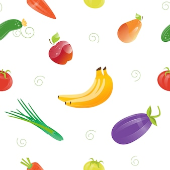 Fresh food seamless pattern with different fruits and vegetables.