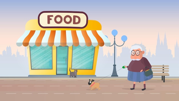 Fresh food store. grocery store on the background of the city. flat style. vector.