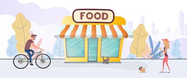 生鮮食品店。街を背景にした食料品店。フラットスタイル。ベクター。