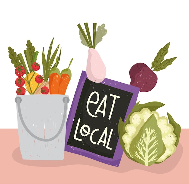 Fresh food vegetables diet and organic eat local vector illustration