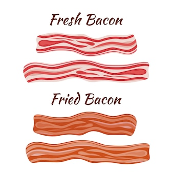Fresh and fried bacon