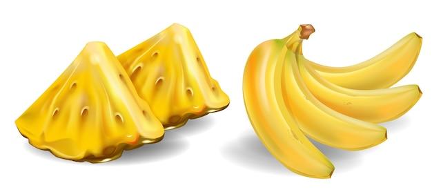 Свежие фрукты и кусочки ананаса и бананов