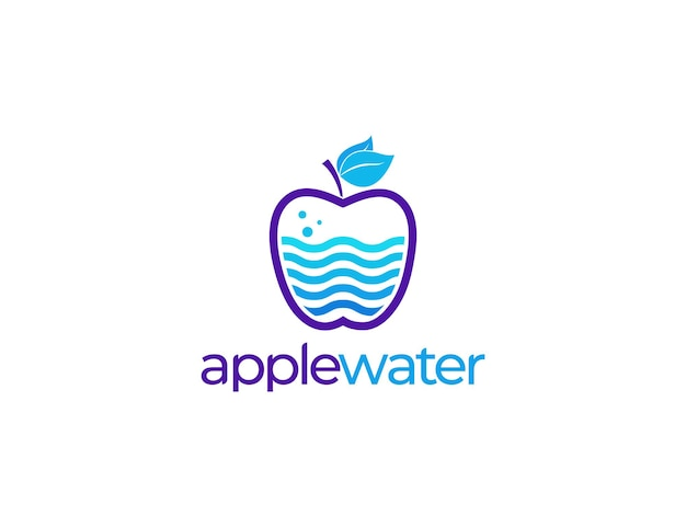 Fresh fruit apple illustration logo with water or drink concept