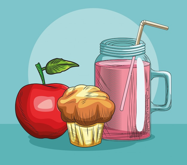 Fresh fruit apple muffin and juice