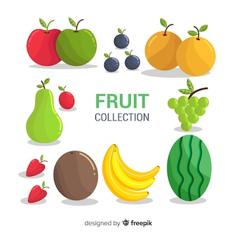 Fresh fruit collection with flat design