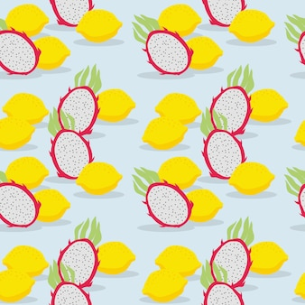 Fresh fruit, dragon fruit and lemon, seamless pattern. summer fruit concept.