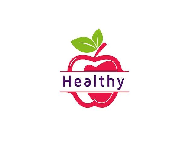 Fresh fruit healthy apple logo illustration
