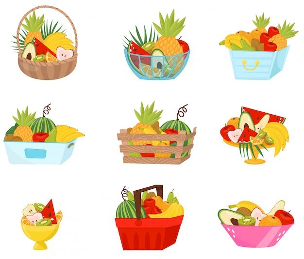 バスケット、コンテナー、花瓶セット、健康的なライフスタイル、食事のコンセプトで新鮮な果物