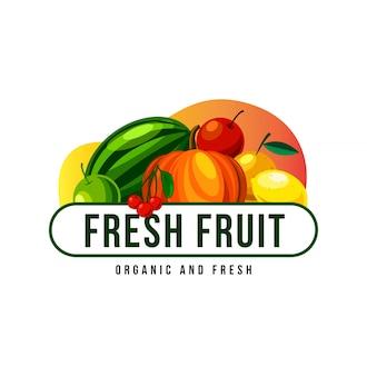 マスコットの新鮮なフルーツのロゴデザイン