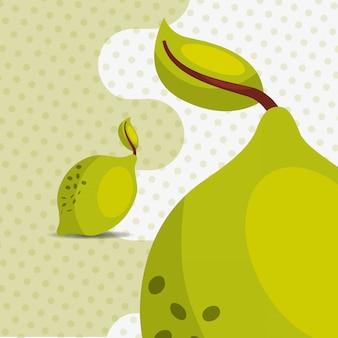 Fresh fruit natural lemon on dots background