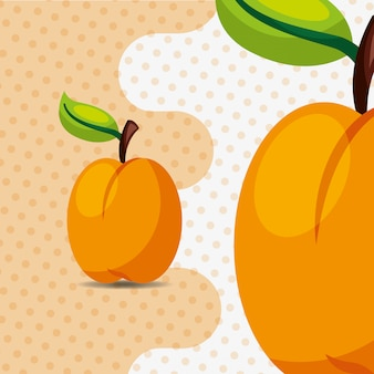 Fresh fruit natural peach on dots background