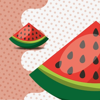 Fresh fruit natural watermelon on dots background