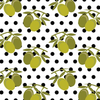 Fresh fruit olives leaves and polka dots seamless pattern