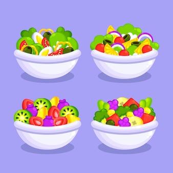 Салат из свежих фруктов в белых мисках
