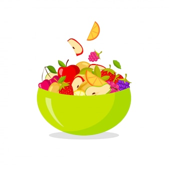 Fresh fruit salad. isolated on white background healthy eating concept