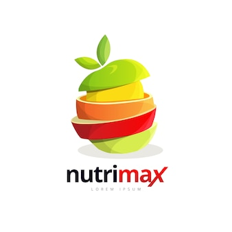 Fresh fruit slice burger logo