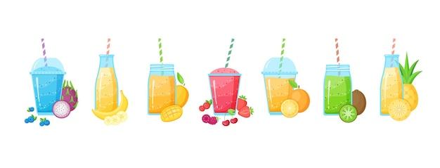 신선한 과일 스무디 쉐이크 칵테일 세트 그림. 과일과 함께 무지개 색상의 칵테일 달콤한 비타민 주스의 레이어와 유리. 스무디 여름 메뉴 흰색 배경에 고립