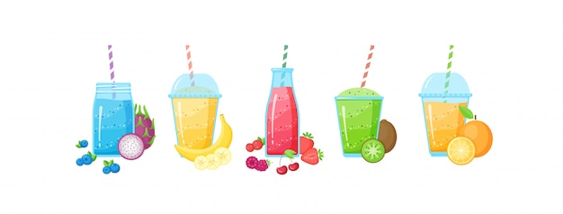 Fresh fruit smoothie shake cocktail set illustration