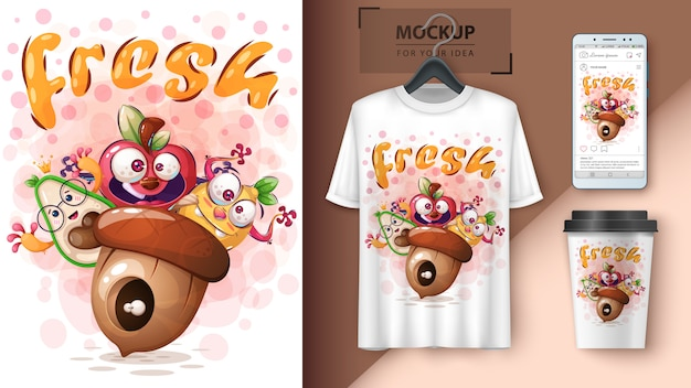 Fresh fruit and vegetable illustration and merchandising