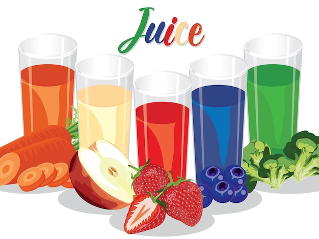 Fresh fruit and vegetable  juice for health and diet