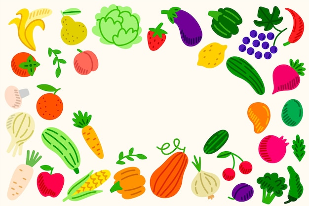 Fresh fruit and vegetables background