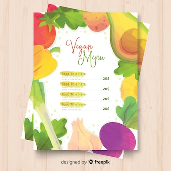 新鮮な果物と野菜のメニューテンプレート