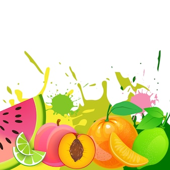 Fresh fruits background over paint splash organic and healthy food natural farm products concept