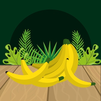 Fresh fruits bananas cartoon