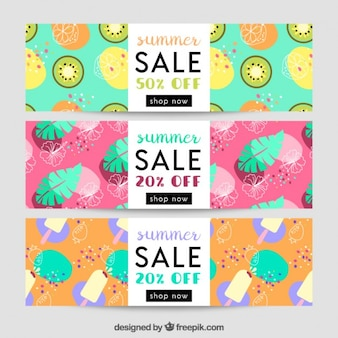 Fresh fruits banners for summer sales